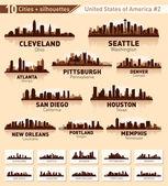 Ensemble de toits de la ville. 10 villes des etats-unis n ° 2 — Vecteur