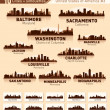 Skyline city set. 10 cities of USA #3 — Stock Vector