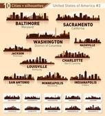 Skyline city set. 10 cities of USA #3 — Stock Vector