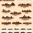 Skyline city set. 10 cities of USA #4 — Stock Vector
