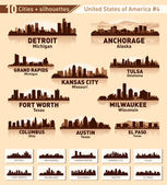 Skyline city set. 10 cities of USA #4 — 图库矢量图片