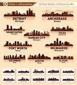 Skyline city set. 10 cities of USA #4 — Stock Vector