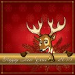 Christmas Deer. Greeting card. — Stock Vector