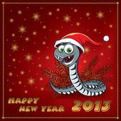 новый год змеи. поздравительная открытка. — Cтоковый вектор