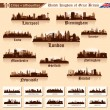 City skyline set. 10 cities of Great Britain #1 — Stock vektor