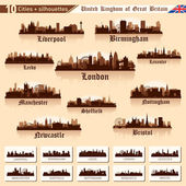 City skyline set. 10 cities of Great Britain #1 — Vettoriale Stock