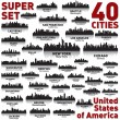 Incredible city skyline set. United States of America. - Imagens vectoriais em stock