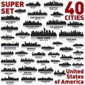 Zestaw panoramę miasta niesamowite. stany zjednoczone ameryki. — Wektor stockowy