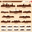City skyline set. 10  city silhouettes of Canada #1 — Vettoriali Stock