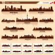 City skyline set. 10 city silhouettes of Canada #1 — Vector de stock