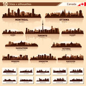 City skyline set. 10 city silhouettes of Canada #1 — Stok Vektör