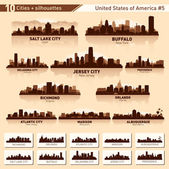 City skyline set. 10 city silhouettes of USA #5 — Stok Vektör