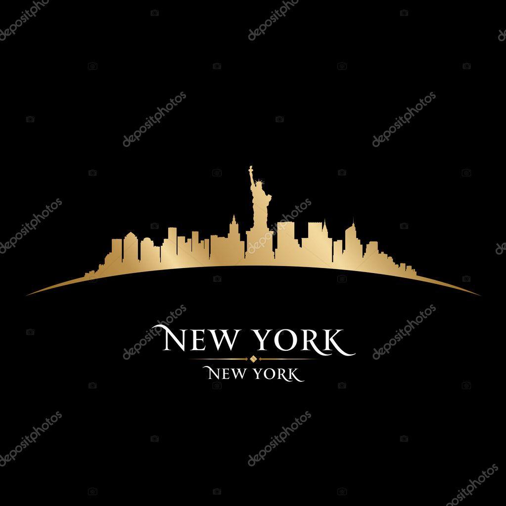纽约城市天际线轮廓黑色背景