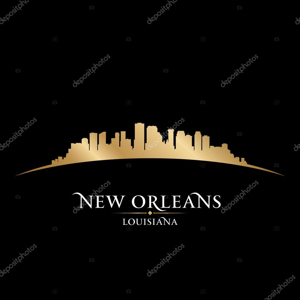 New Orleans Louisiana city skyline silhouette black ...