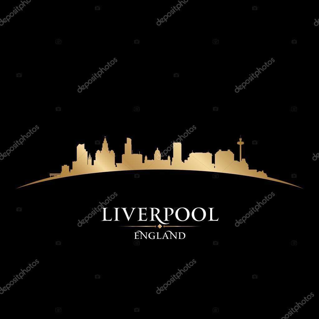 liverpool england city skyline silhouette black background