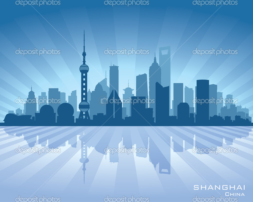 Stock Illustration Shanghai China City Skyline Vector Silhouette on l silhouette vector