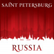Saint Petersburg Russia city skyline silhouette red background — Stock Vector #47779641