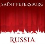 Saint-Pétersbourg Russie ville skyline silhouette rouge fond — Vecteur #47779641