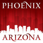 Phoenix Arizona city skyline silhouette red background  — Stock Vector