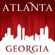 Atlanta Georgia city skyline silhouette red background — Stock Vector