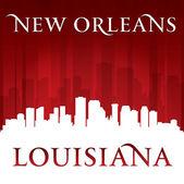 New orleans louisiana cidade skyline silhueta vermelha plano de fundo — Vetor de Stock