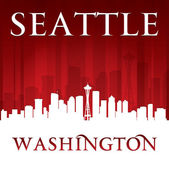 Seattle Washington city skyline silhouette red background  — Stock Vector