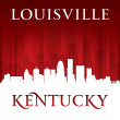 Louisville Kentucky city skyline silhouette red background — Stock Vector