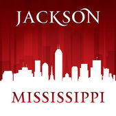 Jackson Mississippi city skyline silhouette red background  — Stock Vector