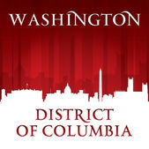 Washington DC city skyline silhouette red background  — Stock Vector