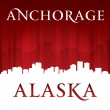 Anchorage Alaska city skyline silhouette red background — Stockvector