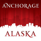 Anchorage Alaska city skyline silhouette red background  — Stock Vector