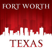 Fort Worth Texas city skyline silhouette red background  — Stock Vector