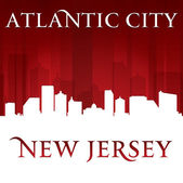 Fundo de silhueta vermelha do Atlantic city new jersey skyline — Vetor de Stock