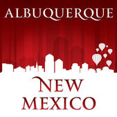 Albuquerque New Mexico city skyline silhouette red background  — Stock Vector