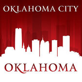 Oklahoma city silhouette red background  — Stock Vector