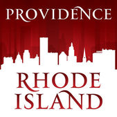 Providence Rhode Island city silhouette red background — Stock Vector