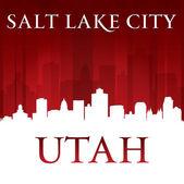 Salt Lake city Utah silhouette red background  — Stock Vector