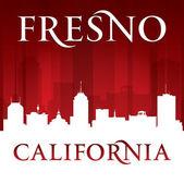 Fresno kalifornien stadt silhouette roten hintergrund — Stockvektor