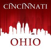 Cincinnati ohio ciudad silueta roja de antecedentes — Vector de stock