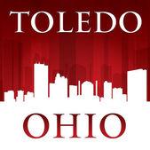 Toledo Ohio city silhouette red background  — Vector de stock