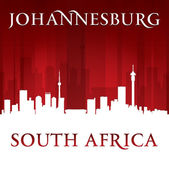Johannesburg South Africa city skyline silhouette red background — Stock Vector