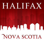 Halifax Nova Scotia Canada city skyline silhouette red backgroun — Stock Vector