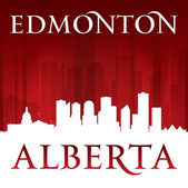 Edmonton Alberta Canada city skyline silhouette red background  — Stock Vector