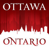 Ottawa Ontario Canada city skyline silhouette red background  — Stock Vector