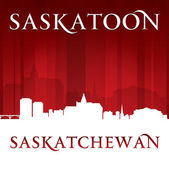 Saskatoon Saskatchewan Canada city skyline silhouette red backgr — Stock Vector