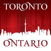 Toronto Ontario Canada city skyline silhouette red background  — Stockvector