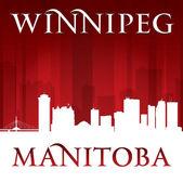 Winnipeg manitoba canada stad skyline van silhouet rode achtergrond — Stok Vektör