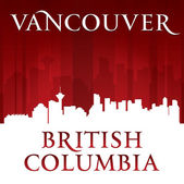 Vancouver British Columbia city skyline silhouette red backgroun — Stock Vector