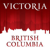 Victoria British Columbia Canada city skyline silhouette red bac — Stock Vector