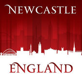 Newcastle England city skyline silhouette red background  — Stock Vector